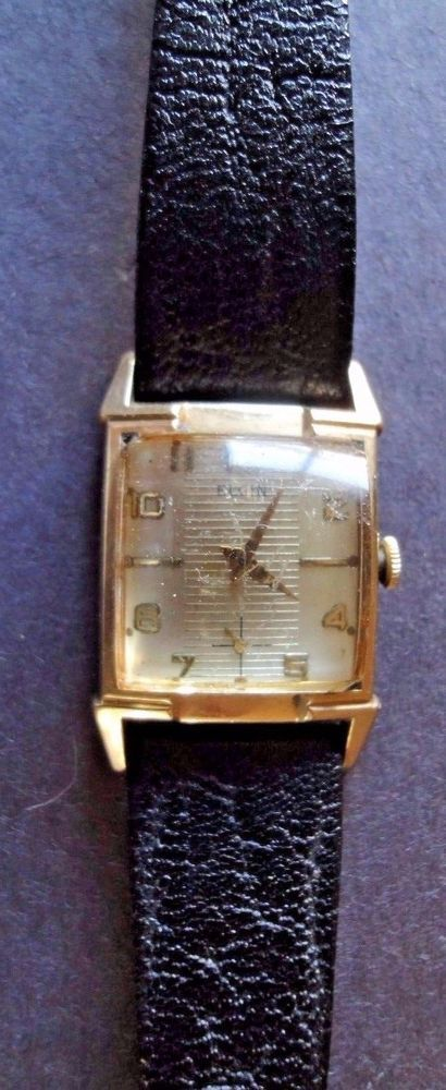 Elgin 17 Jewel Wristwatch Gold Filled with Black Leather Speidel Band #Elgin #DressFormal