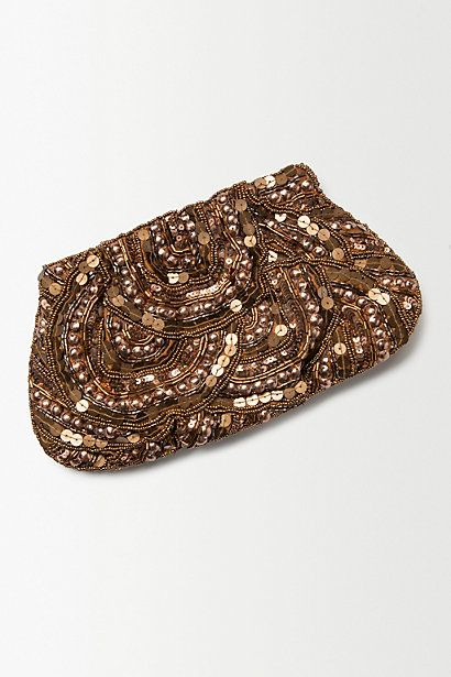 Golden Scalloped Clutch #anthropologie
