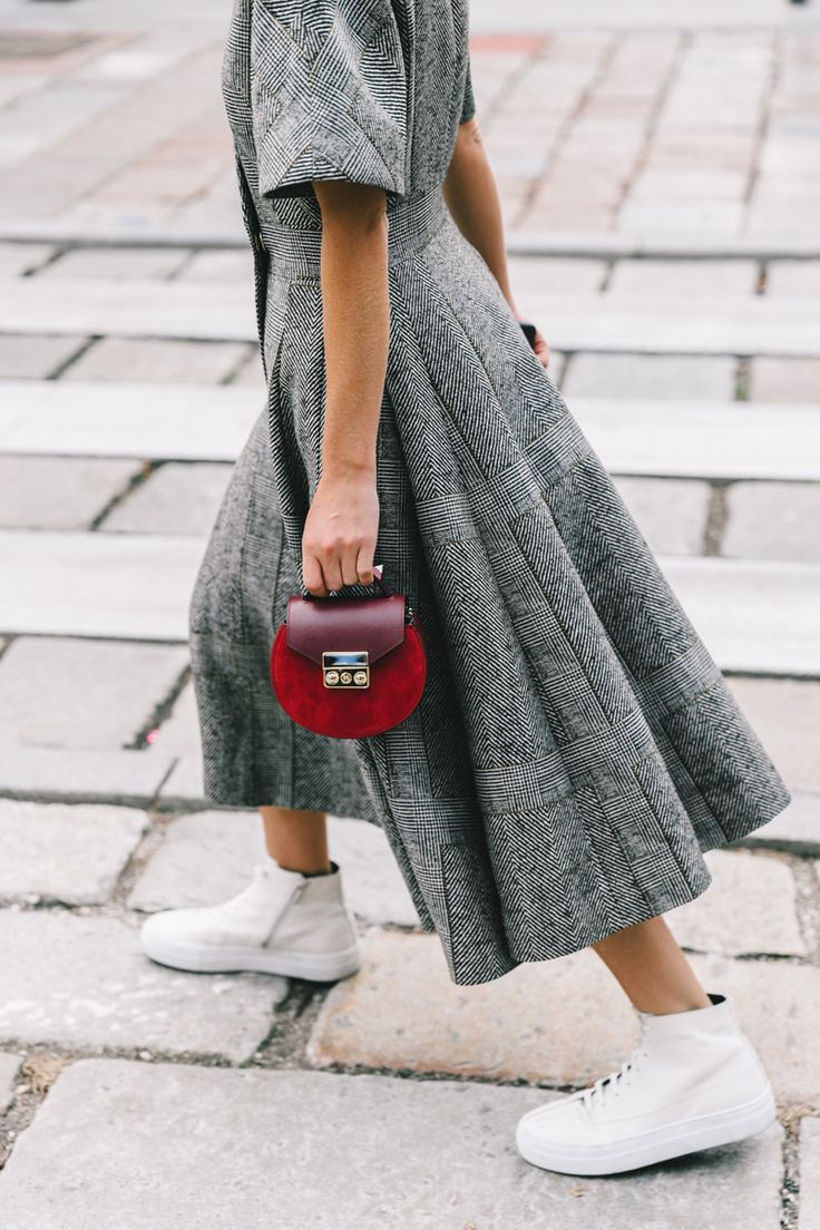 fit and flare dress in structured fabric paired with high top sneakers and mini bag || Saved by Gabby Fincham ||