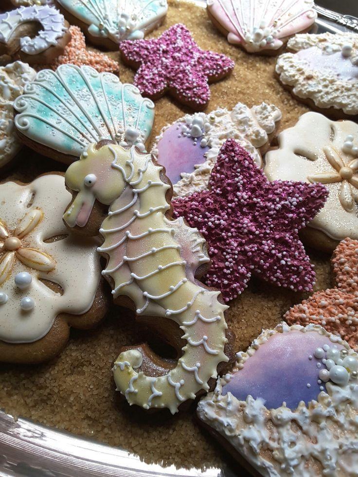 Seashell cookies,  sea creatures,  seahorse cookies,  gingerbread