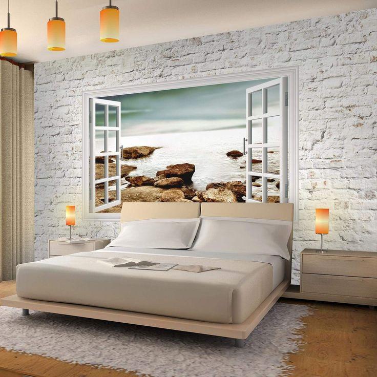85 Wohnzimmer Tapeten Ideen: Fototapeten Fenster Zum Meer 352 X 250 Cm Vlies Wand