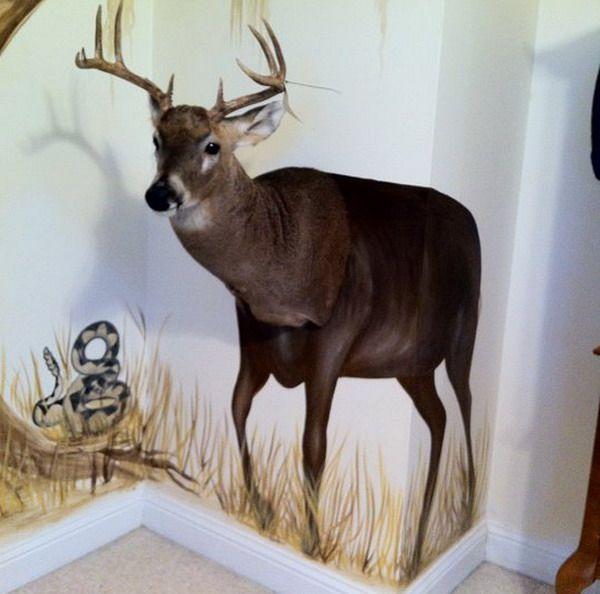 hunting themed boys room   Painting Deer Jungle Murals Deer Wall Murals Gallery