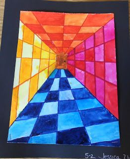 Going to do this Op-Art Perspective Lesson for my after-school art class, but take a 'falling' photo of each kid and let them add the cut-out to the middle of their drawing. basic lesson via Art is From the Heart: Op Art 5th