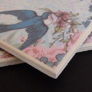 Vintage Bird patterned tile coasters - £10