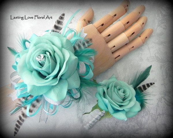 Prom Corsage and Boutonniere, Blue Prom Corsage and Boutonniere, Sea Foam Blue…