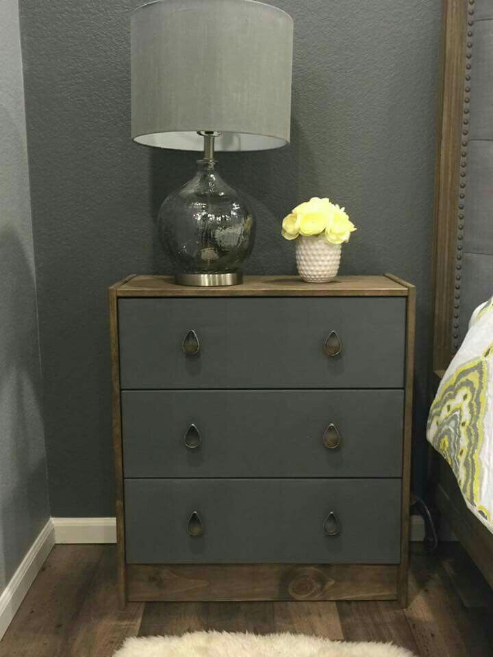 Pin doesn't like to anything but I love the photo as an example. Ikea Rast dresser hack. Two-toned, grey and medium stain.