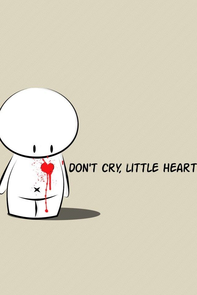 """Sad broken hearted little cute .......... Animated cute thing saying """" don't break my heart """" and it's got a heart on his chest and its bleeding :( .......... Actually after describing it ....... It sounds a little bit disturbing!! ................ So I guess it's cute but disturbing @ the same time!!"""