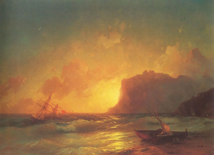 Ivan Konstantinovich Aivazovsky.  Title: The Sea Koktebel, Original Size: 85 x 121 cm, Date: 1853, Location: Feodosia, Aivazovsky Art Gallery - Buy this painting as premium quality canvas art print from Modarty Art Gallery #art, #canvas, #design, #painting, #print, #poster, #decoration