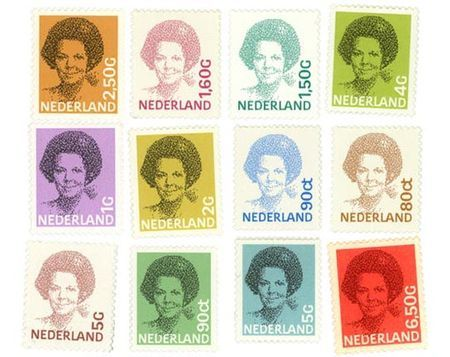 postage stamps for Dutch PTT by Peter Struycken with typography by Gerard Unger (1980)
