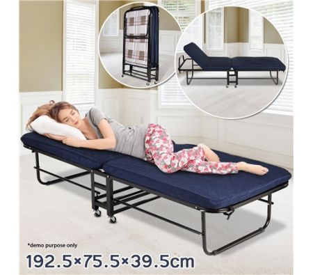 Folding Bed with Mattress and Adjustable Headrest