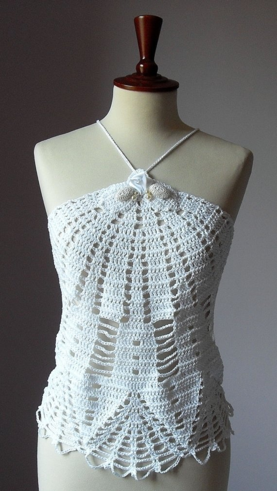SUMMER TOP Crochet Total White Lux by Silvia66 on Etsy, $150.00