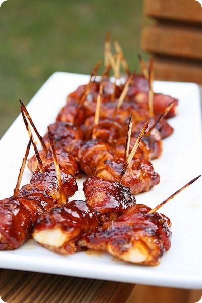 BBQ Chicken Bacon Bites ~ Great holiday hors d'oeuvres!