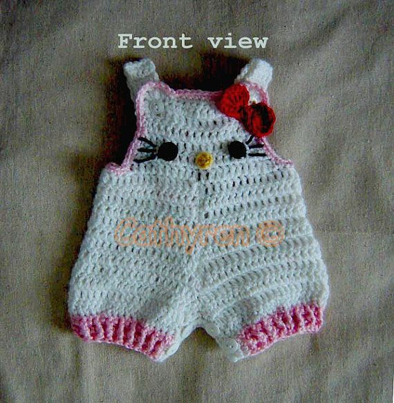 Baby Girl Kitty Shorties, Overalls, Romper, Buttons at Legs for Easy Change - Instant Downloadable Crochet Pattern