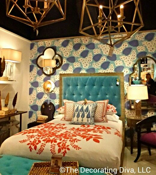 Aqua, turquoise and coral bedroom decor from Mr. Brown collection. Fall 2013 High Point Market #hpmkt