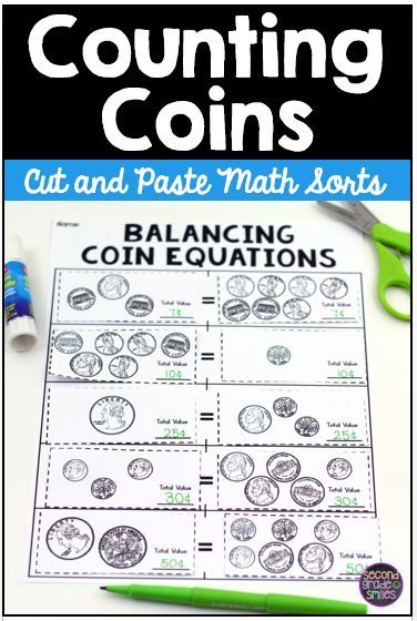 This set of ten cut and paste math sorts includes everything you need to help your students practice counting combinations of pennies, nickels, dimes, and quarters! These hands-on coin activities are great for use as cut and paste centers or practice activities. I also love that they allow you to review and strengthen additional skills such as odd and even and balancing equations. Just print the desired sort and recording sheet, copy, and go!
