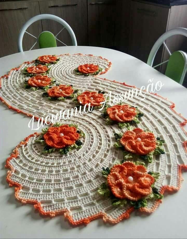 Crochet scroll  table centre