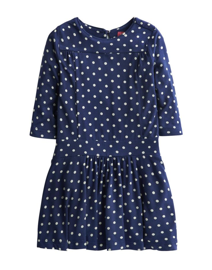 Joules Girls Drop Waist Jersey Dress, Navy Spot.                     Crafted from easy-to-wear stretch jersey this drop waist dress is smart enough for any occasion your little one might be invited to but comfortable enough for dancing, twirling and sliding on the dance floor too.