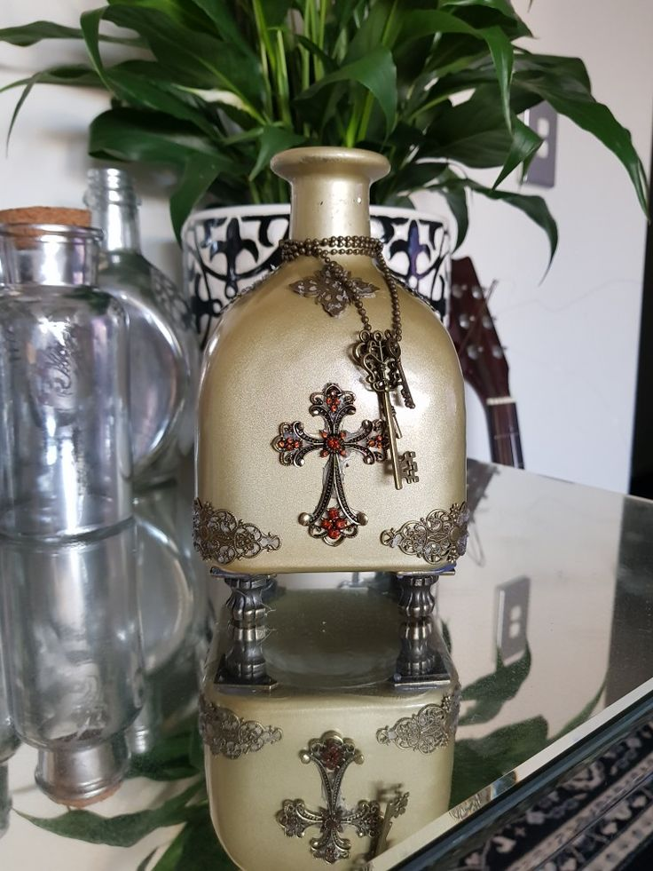 Decorative Bottles cross brass embellishments
