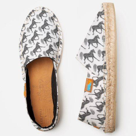 Tribal Horse Trotting Black White Print Novelty Espadrilles | Zazzle.com   – Afridrilles – Customizable Espadrille Shoes