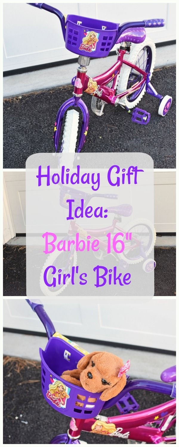 """Ride in Style with the 16"""" Barbie Girls' Bike- Empower your little girl to exercise and enjoy the outdoors. Get this Barbie 16"""" Girl's Bike by Dynacraft at Walmart for under $70! #AD #GivetheGiftofFun  #Walmart via @savvysavingcoup"""