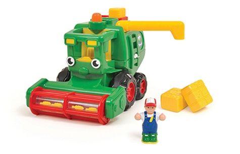 Игрушечный комбайн Харви из коллекции WOW игрушки сделан из пластмасы, подвижный, когда движется вперед, то его молотилка вращается, при этом за комбайном остаются упакованные блоки с зерном. В наборе есть контейнер на крыше машины, в которые можно укладывать блоки. Блоки можно выгрузить, повернув рычаг, они вывалятся из задней двери комбайна.  Комбайн игрушка с инерционным механизмом, со звуком работающего двигателя во время движения. В наборе есть фигурка водителя, который помещается в…