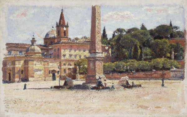 Piazza del Popolo w Rzymie, szkic - Aleksander Gierymski