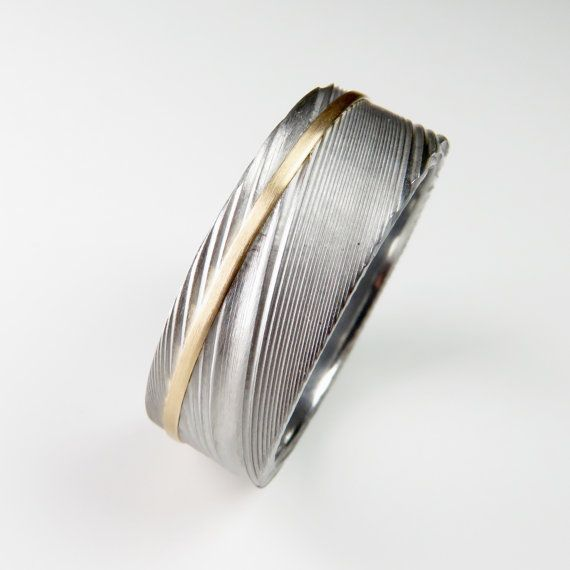 Men's Wedding Band Damascus Stainless Steel Gold Stripe by spexton