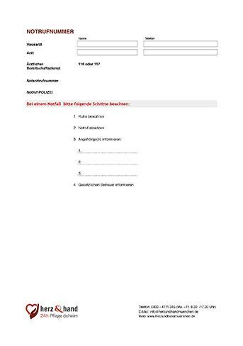 Notrufnummern Pflegedokumentation