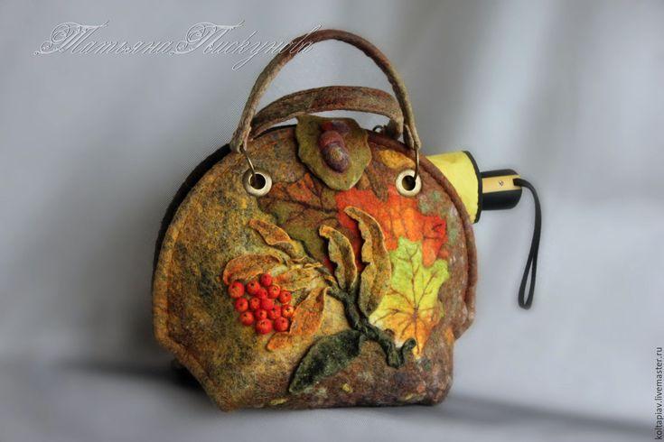 """Купить Войлочная сумка """"Акварельный сентябрь """" - комбинированный, валяная сумка, войлочная сумка"""