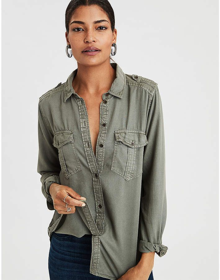 24830d81 Military Button Up Shirt perfect for fall. Wear buttoned up or open with a  tank