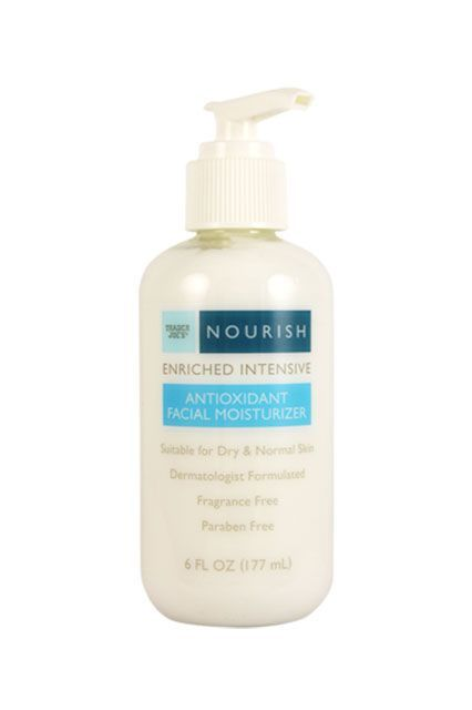 This moisturizer will keep dry skin at bay thanks to a bevy of natural oils and glycerin.Trader Joe's Nourish Enriched Intensive Antioxidant Facial Moisturizer, $5.99, available at Trader Joe's locations....