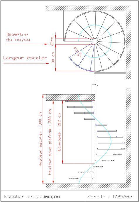 plan escalier colimacon dwg