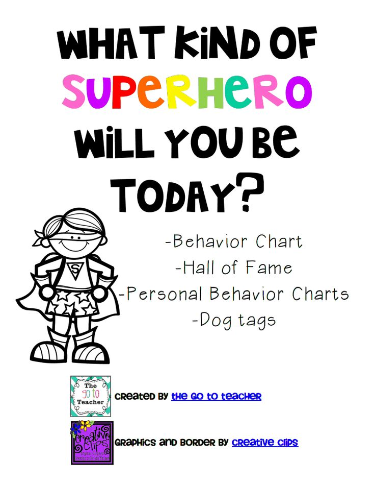FREE pdf superhero behavior chart and other visuals