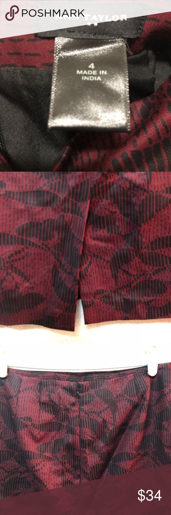 Ann Taylor Pencil Skirt Size 4 Black Red Floral Ann Taylor Pencil Skirt Size 4 B…