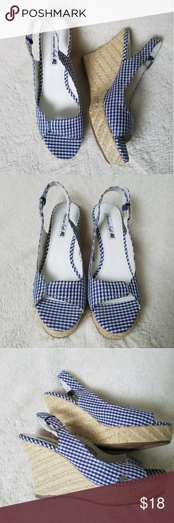 """NWOB Plaid Espadrille Wedge Sandals Brand new! Only ever tried on. Blue and White Plaid Espadrille Wedge Sandals from American Eagle by Payless. 4.5"""" heel. American Eagle by Payless Shoes Espadrilles"""
