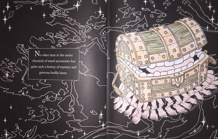 Terry Pratchett's Discworld Colouring Book - No other item in the entire chronicle of travel accessories has quite such a history of mystery and grievous bodily harm. [The Luggage (Sapient Pear Wood)]