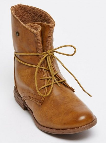 Basic Military Style Lace-up Ankle Boots Camel