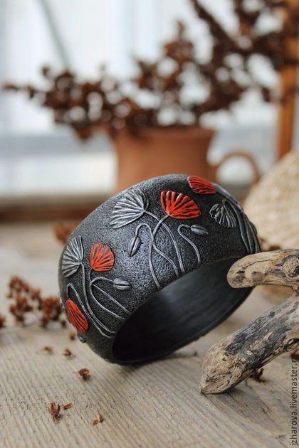 Браслеты ручной работы. Ярмарка Мастеров - ручная работа. Купить Браслет широкий из полимерной глины Маки. Handmade. Маки