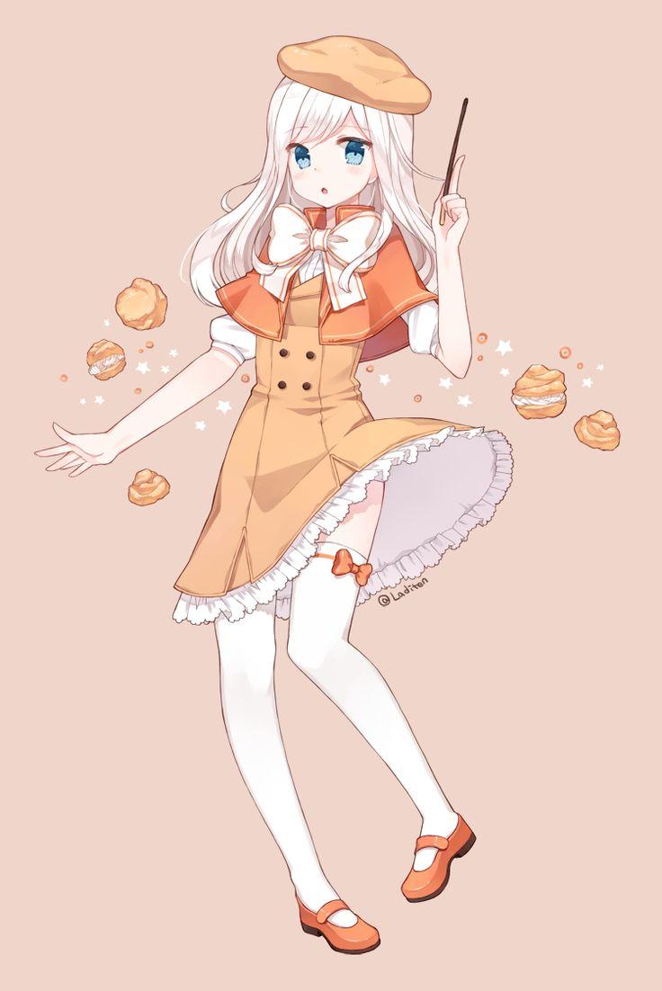 Pixiv Id 7224537, Cookie Run, Choux Cream Cookie, Buttons, Orange Headwear, Orange Dress