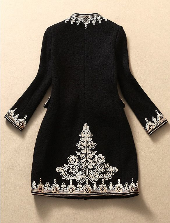 Black Embroidered Wool Coat Jacket – Lily & Co.
