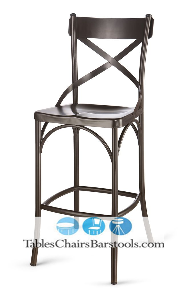 the bouchon cafe bar stool features an elegant crossback design and trendy rust
