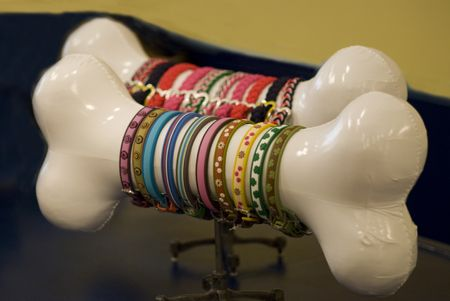 """""""Cute dog collar display idea."""" Actually, I was thinking this would be a killer display idea for those of us who sell spooky jewelry and accessories! Would look great with spooky bracelets hanging off it! :)"""