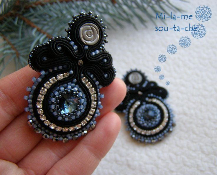 Soutache earrings, design and made by Milame soutache