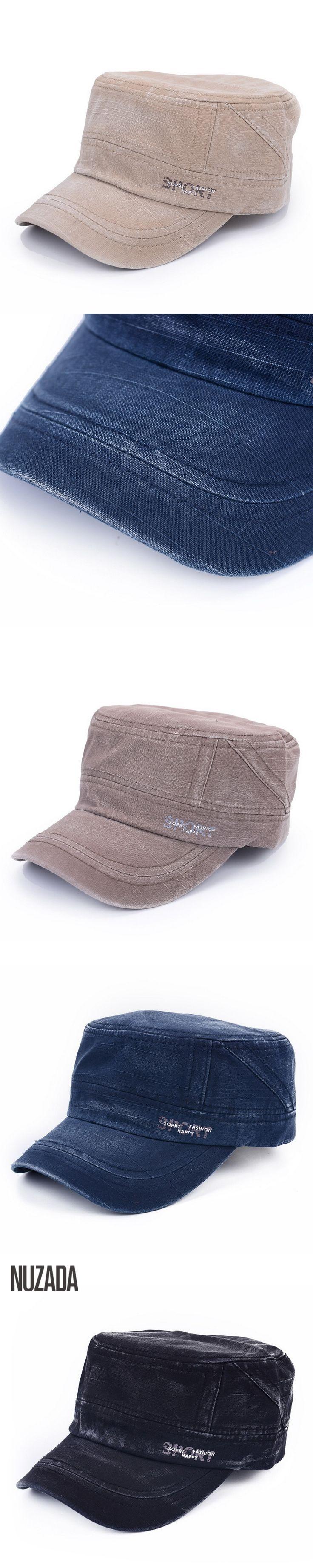 Brand NUZADA 2017 Classic Unisex Flat Top Cap Military Hats For Men Women 100% Cotton Stitching Spring Summer Visor Hat pdd-003