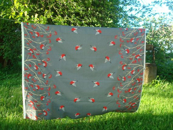 Square / Round / Oval Tablecloth with Mountain Ash and Birds
