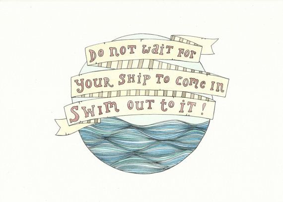Motivational Ship Quote  Waves Nautical by FeatherAndSixpence, £25.00