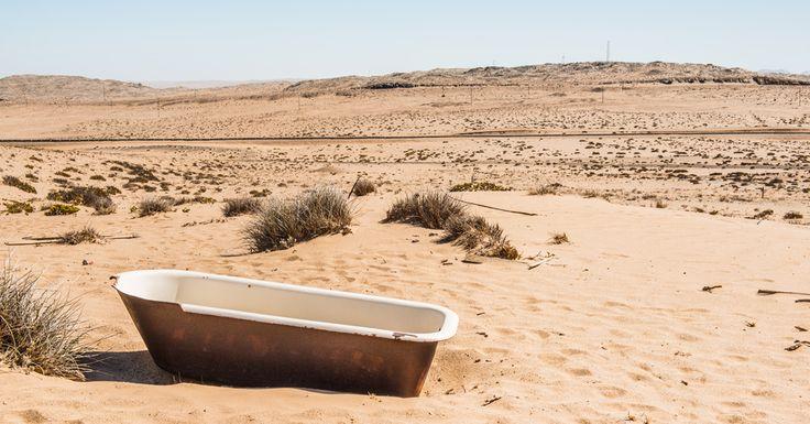 Victorian bath left in the desert at Kolmanskop, Namibia. #namibia