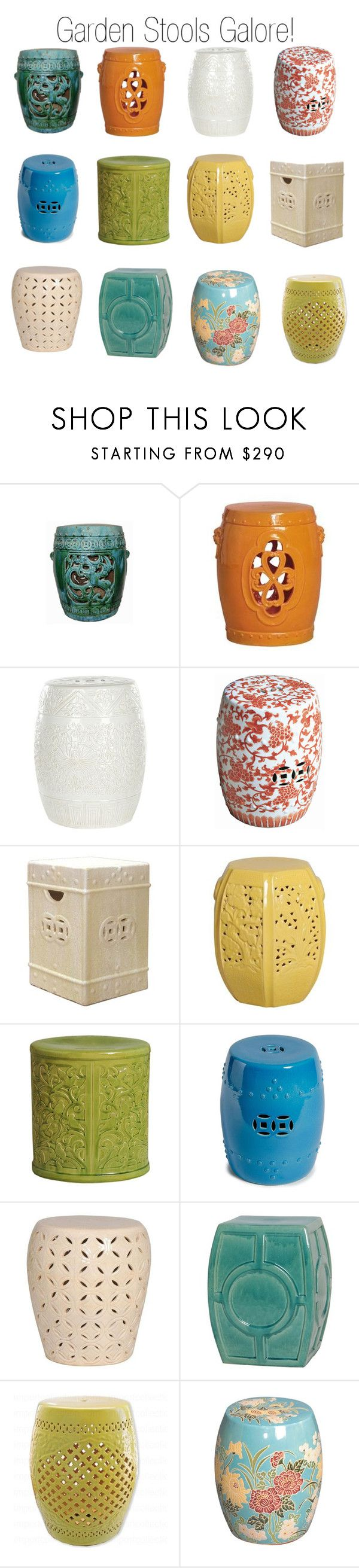 """Ceramic Garden Stools"" by insideavenue ❤ liked on Polyvore featuring interior, interiors, interior design, home, home decor, interior decorating, Legend of Asia, Emissary and Safavieh"