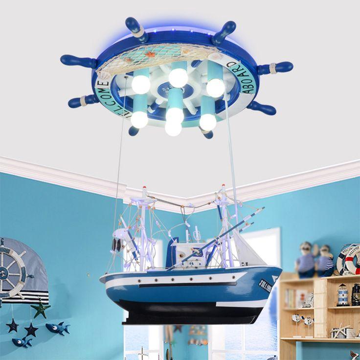 Buy Led lights Children Ceiling Lamp Sailing Sea Ship Helmsman with remote control Light 110V 220V #lights #Children #Ceiling #Lamp #Sailing #Ship #Helmsman #with #remote #control #Light #110V #220V
