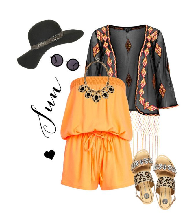 """""""Summer Love"""" by elske88 ❤ liked on Polyvore featuring Topshop, River Island, Le Specs, orange, playsuit and summer2014"""